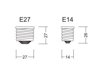 Разликата между Е14 и Е27 крушки в лед осветлението.
